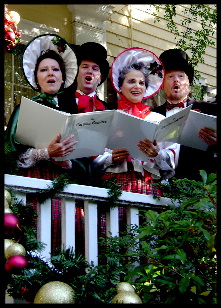 The Carillon Carolers at the Caldwell-Boylston House in Columbia, SC: Dana Fore, soprano; Chan Shealy, tenor; Rosanne McDowell, alto; Hal McIntosh, bass                          Photo by Bob Carroll