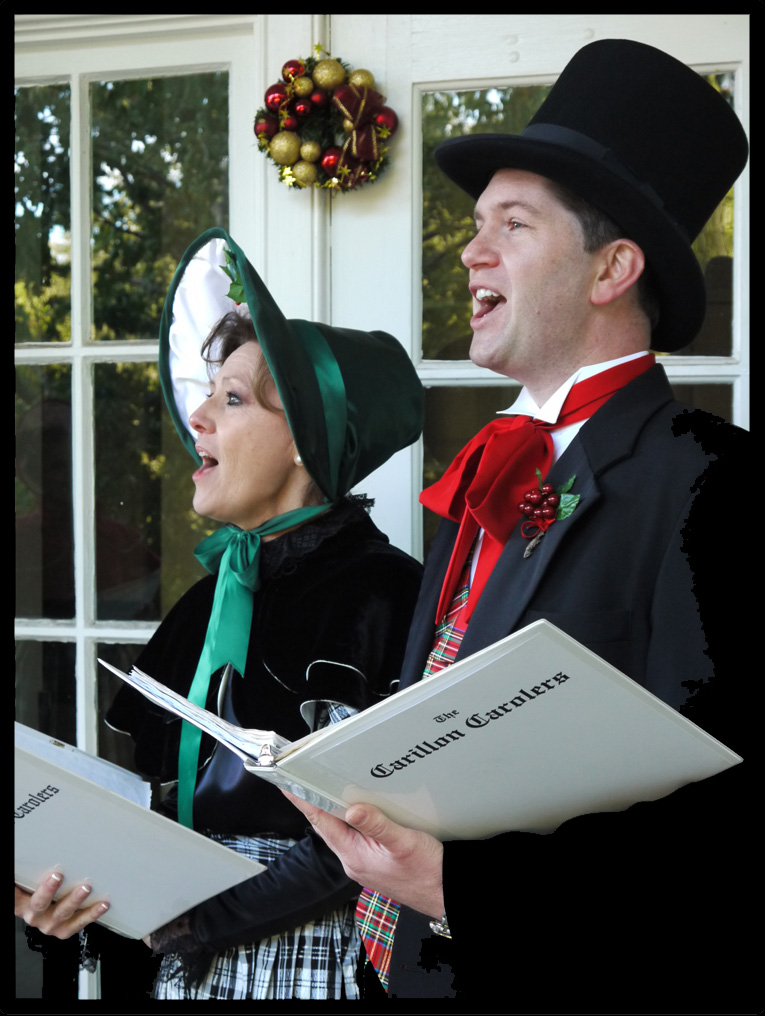 The Carillon Carolers at the Caldwell-Bolston House in Columbia, SC: Dana Fore, soprano; Chan Shealy, tenor       Photo by Bob Carroll